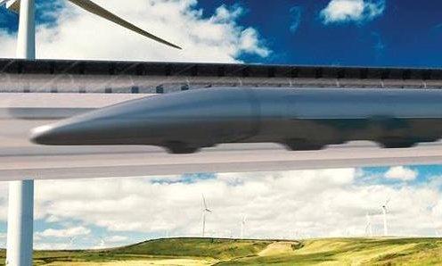 A rendering of a Hyperloop by