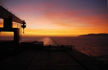 Cargo Ship Sunset View