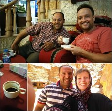 friends sit together in cafe in Jordan drinking coffee