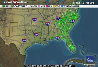 Travel Forecast driving East Coast