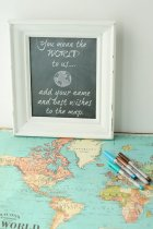 travel map wedding guest book idea map