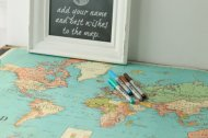 travel map wedding guest book idea map markers